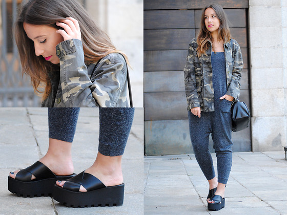 Claudia Villanueva - Zara Camo Jacket, Zara Knitted Jumpsuit, Zara Bag, Asos Flatform Sandals - Knitted Jumpsuit