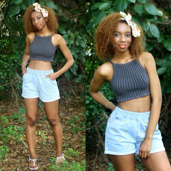 Alexa C - Forever 21 Crop Top, Sheinside Banana Print Shorts, Forever 21 Head Wrap, Sandals - Thinking Out Loud