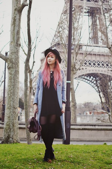 Amy Valentine - Primark Fedora, Oh My Love Sheer Babydoll Dress, Sheinside Long Grey Coat, Grafea Burgundy Baby Rucksack, Asos Thigh High Boots - Paris Day 1