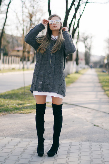 Madalina Gugila - H&M Sweater, Stradivarius Dress Shirt, Mango Over The Knee Boots - Bare legs and otk boots
