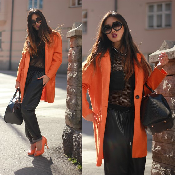 Louise Xin - Style Moi Orange Coat, Sporty Mesh Top, H&M Loose Fit Leather Pants, Orange Pumps - Orange is the new black