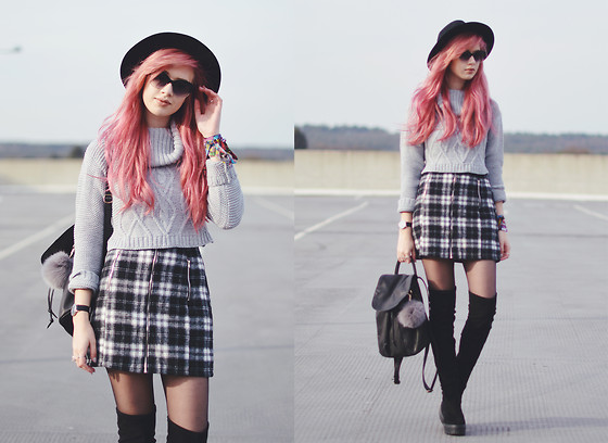 Amy Valentine - Missguided Roll Neck Crop Top, Missguided Tartan Skirt, Asos Thigh High Boots, Urban Outfitters Leather Rucksack, Urban Outfitters Fedora - WE ALL DESERVE SOMETHING