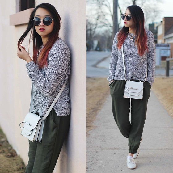 Jeannie Y - Mackage Rubie Crossbody, H&M Sweater, Talula Trouser, Zara Blucher - Off Duty