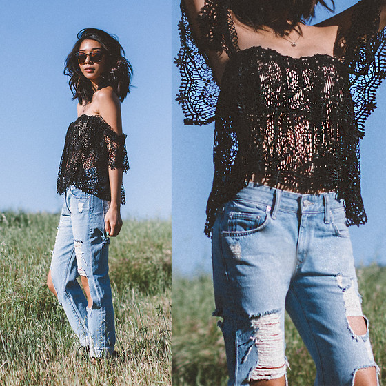 Stephanie Liu - Stone Cold Fox Top, Lovers + Friends Jeans - Denim + Lace