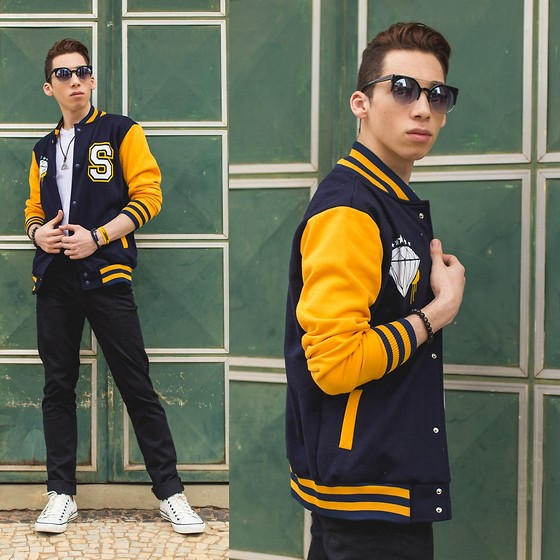 Douglas Brandão - Yellow And Navy Varsity Jacket, Black Trousers, Phillip Normal Sunnies, Converse White Leather Sneakers - Sporty mood!