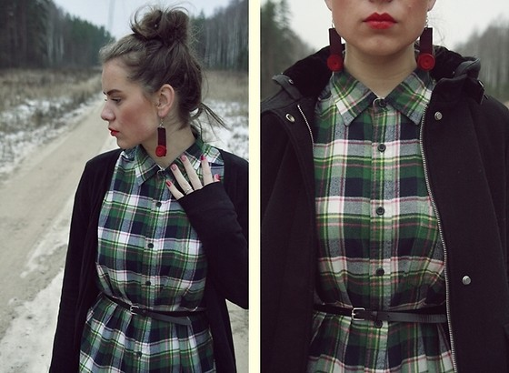 Rita G - Zara Coat, Uniqlo Checked Shirt, Reserved Cardigan, Earrings, Primark Belt - Gone With The Winter
