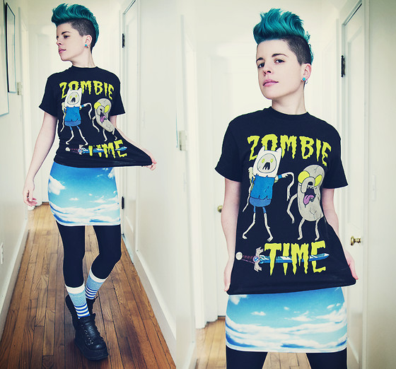 Carolyn W - Hot Topic Zombie Time, Black Milk Clothing Clouds, Black Milk Clothing, Sammy Icon Striped, Hot Topic Platforms - Zombie Time