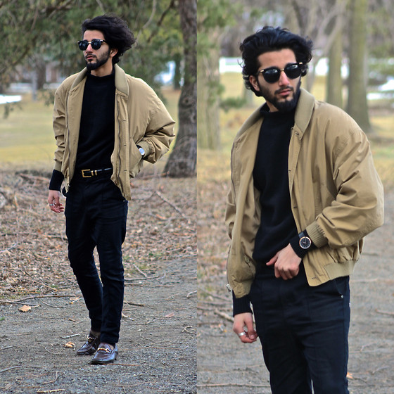 Tah ∆li - Guess? Round Sunglasses, Calvin Klein Vintage Jacket, Fred Perry Vintage Black Mid Turtle Neck, I Love Ugly Ernest Watch, I Love Ugly Black Ralph Pants, Perry Ellis Vintage Gold Belt, Gucci Burgundy Loafers - Florra, Let Her Stroll