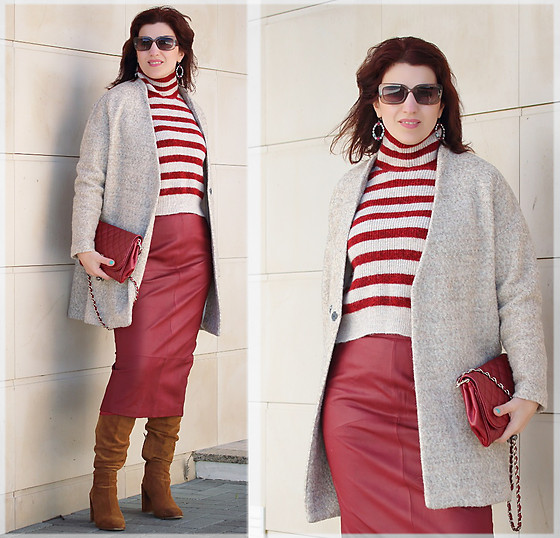 Teresa Leite - Zara Boxy Overcoat, Zara Striped Knit Sweater, Asos Red Leather Midi Skirt (Old), Mango Red Clutch, Zara Suede Knee High Boots - Berries and Cream