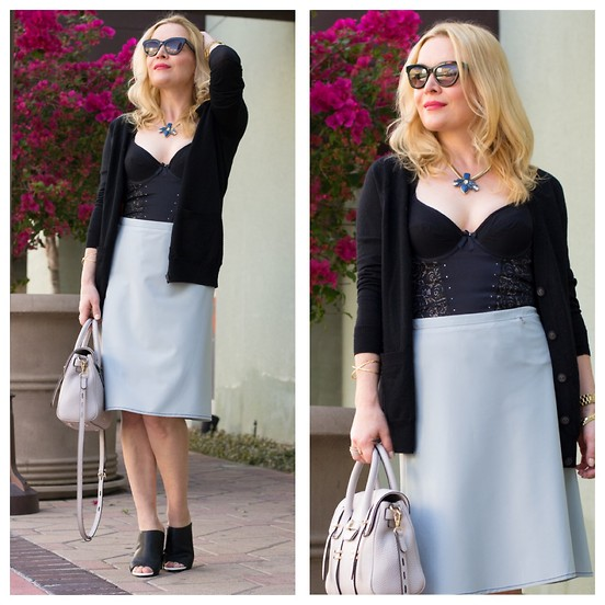 Zia Domic - Madewell Cardigan, Vedette Corset, Prada A Line Skirt - Bloom