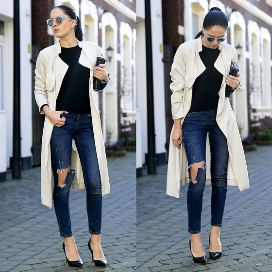 The Day Dreamings - Zara Ripped Jeans, H&M Trench, Jumex Pumps, Mango Bag, Triwa Sunglasses - Springtime is for trenchs
