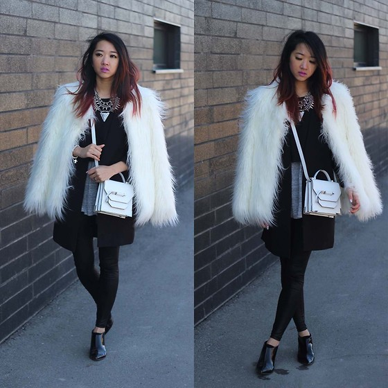 Jeannie Y - Zara Fur Coat, H&M Coat, Mackage Crossbody Bag, Topshop Booties, Aritzia Tank - WMCFW Day 1