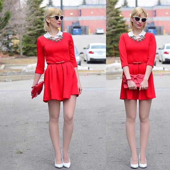 red dress white shoes Tatiana M - Choies Dress, Loft Blouse, Asos Shoes, Forever 21 Belt - Blonde  in Red Dress | LOOKBOOK