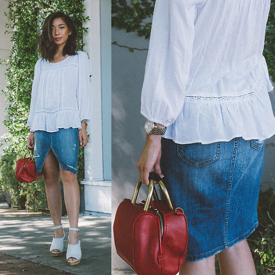 Stephanie Liu - Karen Kane Top, Joe's Jeans Skirt - Denim + white