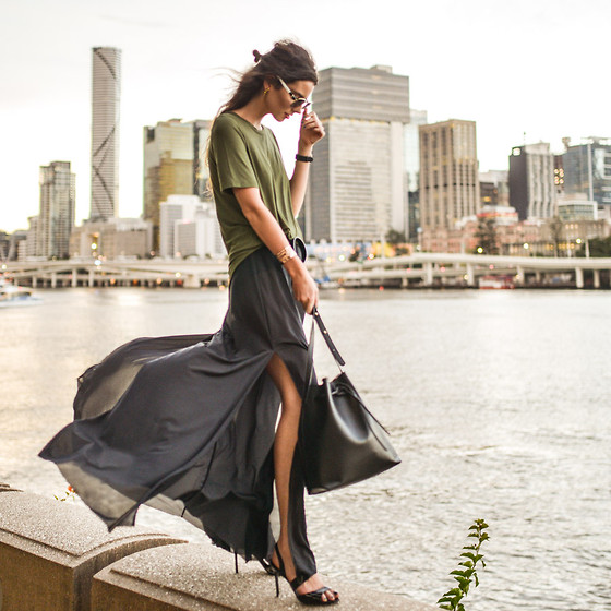 Elle-May Leckenby - Olive Slant Hem Tee, High Waist Slit Pants, Black Wrap Heels, Black Leather Bucket Bag - Somethings changed and I don't know why