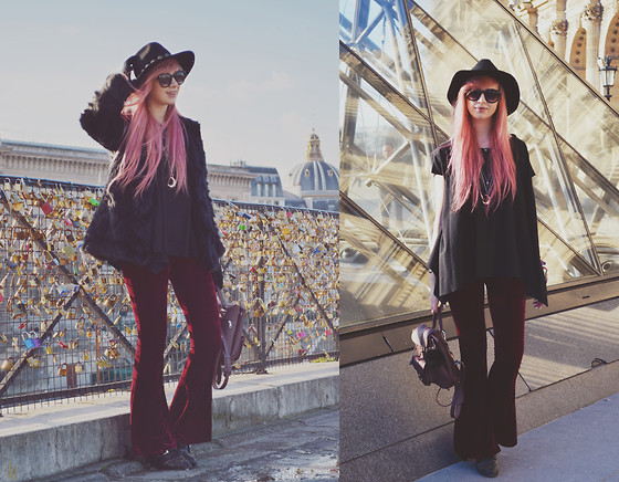 Amy Valentine - Kerol D Achille Hat, Fashion Union Black Faux Fur Coat, Holly Loves Swing Tee, Gypsy Warrior Burgundy Velvet Bell Bottoms, Armani Exchange Stud Boots, Grafea Baby Rucksack - PARIS DAY 2