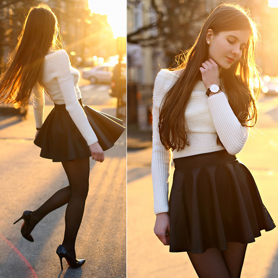 Ariadna M. - White Sweater, Leather Skirt, Daniel Wellington Watch - Black and white