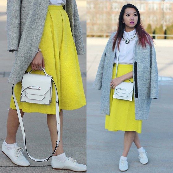 Jeannie Y - Zara Boucle Coat, Zara Crop Shirt, Topshop Midi Skirt, Mackage Crossbody Bag, Zara Blucher - WMCFW Day 2