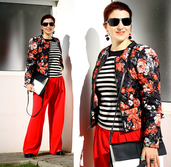 Teresa Leite - Mango Flower Print Quilted Jacket (Old), Zara Striped Panel Top (Old), Mango Bright Red Pleated Pants (Old), Bershka Black&White Oxford Shoes, Zara Black&White Messenger Bag (Old) - Bright colors under the Sunlight