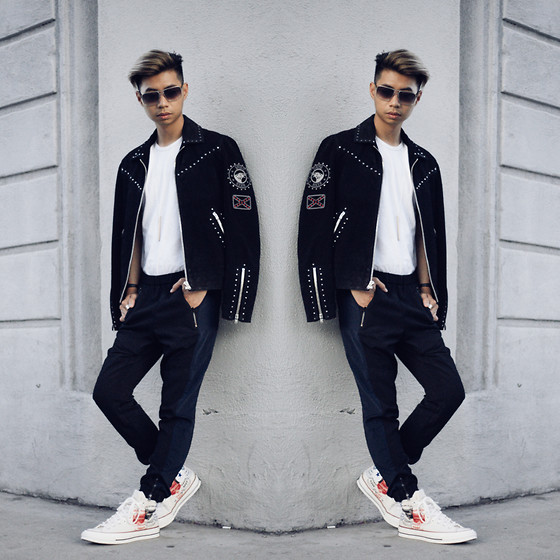 Tommy Lei - Louis Vuitton Sunglasses, The Kooples Cow Suede Jacket, Converse Andy Warhol Sneakers, Calvin Klein White Shirt - 4.1.15