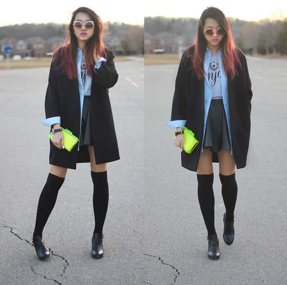 Jeannie Y - H&M Coat, Forever 21 Graphic Tee, Zara Clear Clutch, Topshop Booties, Asos Sunglasses - WMCFW Day 3