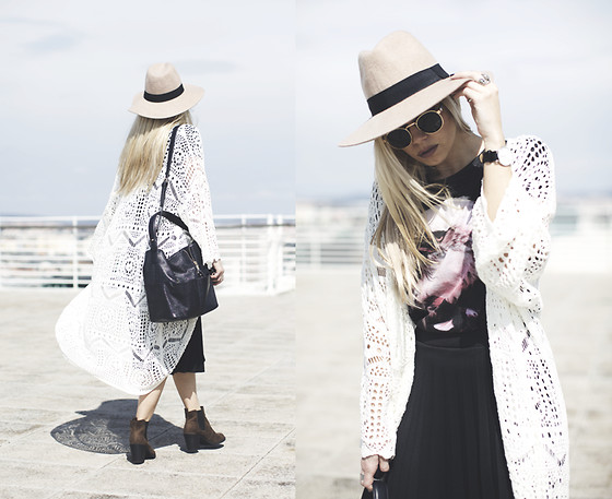 Inês M - H&M Kimono, Zara Top, Iclothing Skirt, Daniel Wellington Watch, Asos Hat, Zara Bag - Day Dreamin'