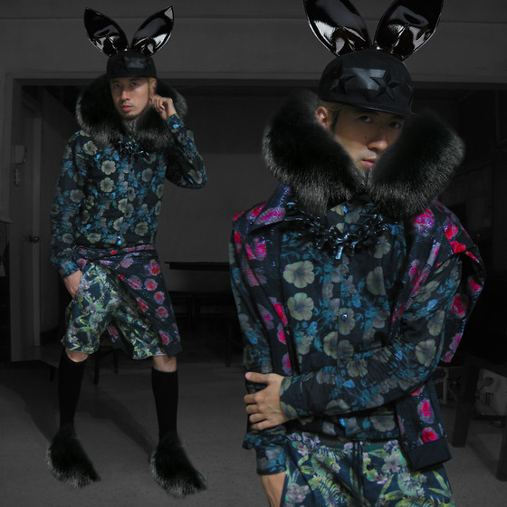 Andre Judd - Patent Bunny Ears, Fur Collar, Dark Floral Button Down Shirt, Glittered Jersey Floral Print Sweater, Floral Print Shorts, Fur Booties, Vertebrae Collar - DONNIE DARKO