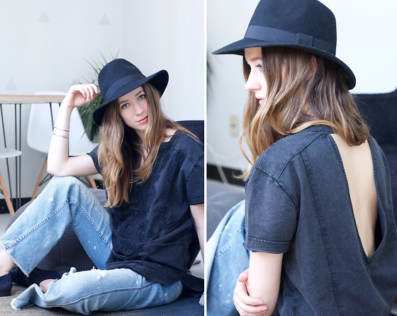 Gabrielle Lacasse - Free People Open Back Tunic, Forever 21 Hat, Free People Flare Jeans - Open back and Flares