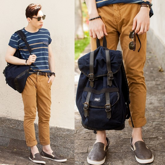 Douglas Brandão - Navy Striped T Shirt, Caramel Trousers, Coca Cola Slip On Sneakers, Ui Gafa Sunglasses, King55 Backpack - Navy and Caramel!