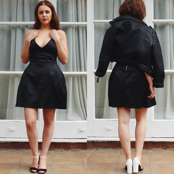 Layla Panam - Hedonia Vegas Silk Dress, New Look Monochrome Heeled Sandals, Primark Pu Leather Jacket - SASSY IN SILK