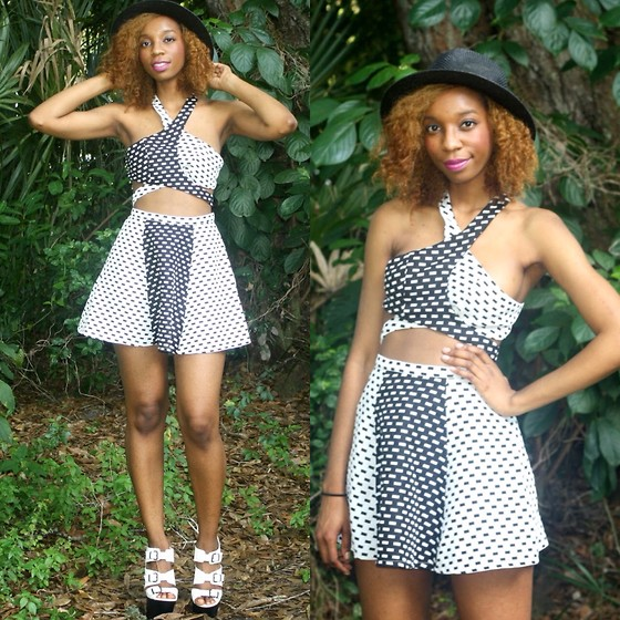 Alexa C - Nasty Gal Crop Top, Nasty Gal Skirt, Nasty Gal Olatforms, Hat - All Hands On Deck