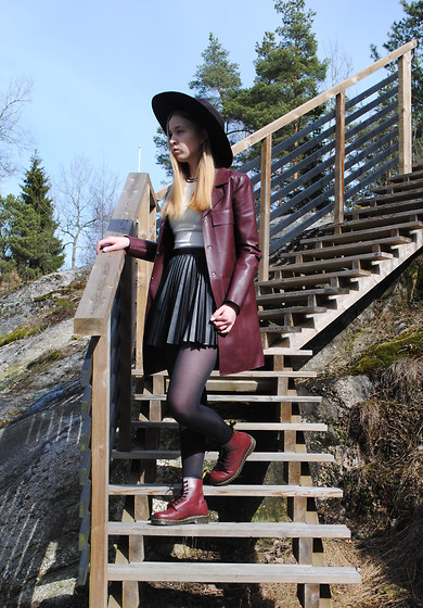 Noora V - Zara Leather Coat, H&M Skirt, H&M Top, H&M Hat, Dr. Martens Shoes - Burgundy