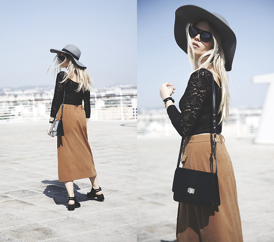 Inês M - H&M Hat, H&M Top, Mom's Skirt, Missguided Shoes, Lovelybreeze Sunglasses - Belle Epoque