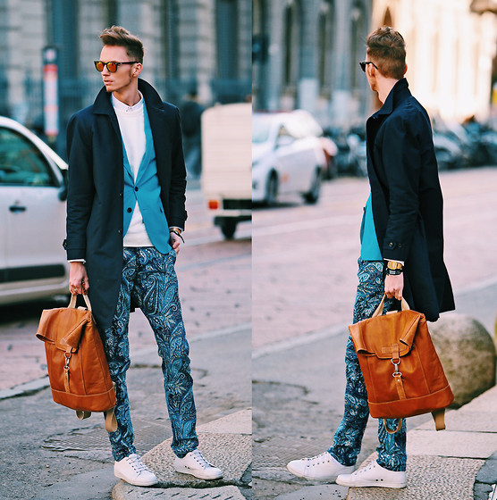 Chaby H. - H&M Overcoat, Benzol Recycled Leather Backpack, Paisley Printed Pants, Blue Blazer - Blue like the sky