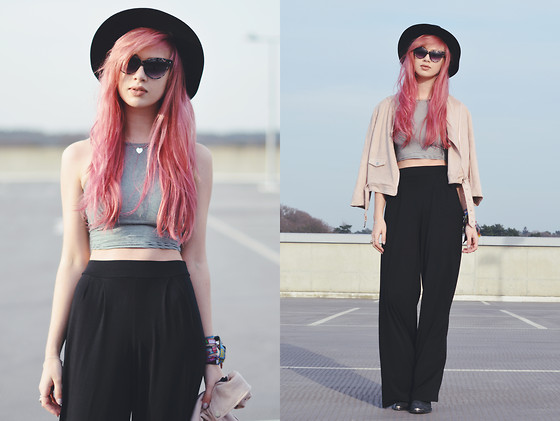 Amy Valentine - Missguided Stripe Crop Top, Missguided Black Wide Leg Trousers, Missguided Nude Suede Jacket, Urban Outfitters Black Fedora - NOT GONE, BUT FADING FAST