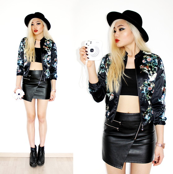 Kicki Yang Zhang - H&M Hat, Style Moi Floral Bomber Jacket, Primark Cropped Top, H&M Fake Leather Skirt, Asos Shoes - Black Floral