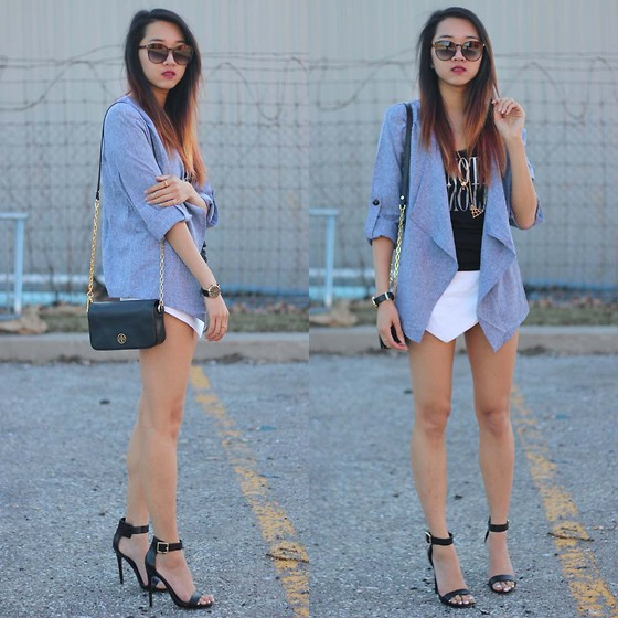 Jeannie Y - Style Moi Front Drape Cardigan, Tory Burch Crossbody Bag, Steve Madden Heels, Talula Skort, Ysl Sunglasses - Denim Days