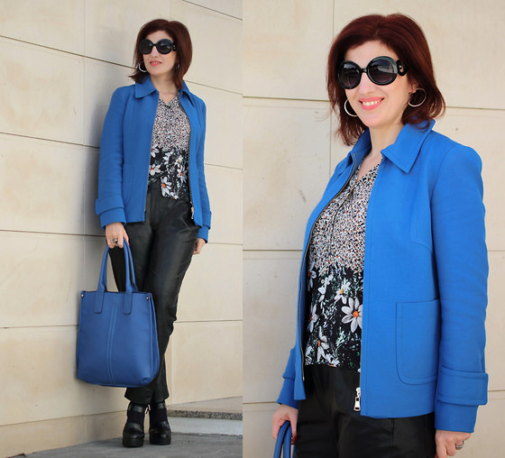 Teresa Leite - Zara Cobalt Blue Jacket, Zara Daisy Print Shirt (Old), Zara Black Leather Pants, Zara Black Platform Mary Jane Shoes, Lanidor Cobalt Blue Bag - The Deeper the Blue Becomes