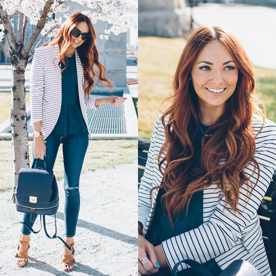 Jackie Welling - Sophie & Try Striped Blazer, Ms. Littles Bag Navy Backpack - Striped Blazer