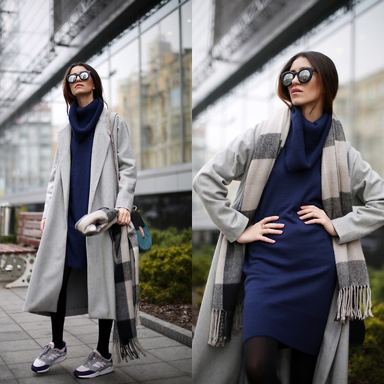 Tina Sizonova - Sheinside Coat, Sheinside Dress, Adidas Sneakers, Jessica Buurman Bag - GRAY