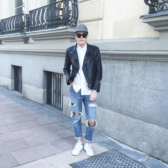 Martijn Maagdenberg - Stella Mccartney Cap, Céline Sunglasses, Saint Laurent Shirt, Sandro Jacket, Zara Jeans, Adidas Sneakers - Untitled #24