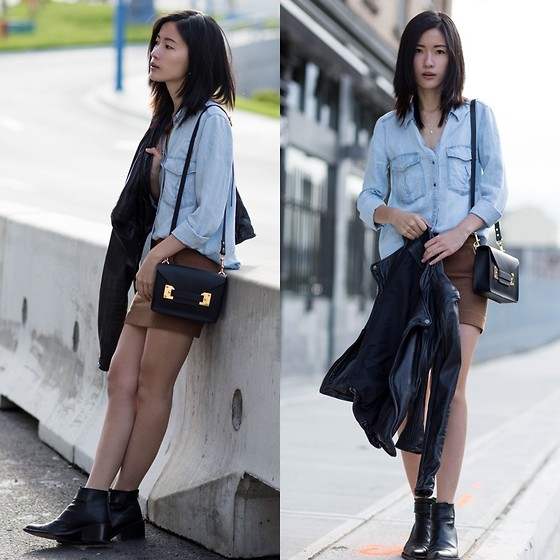 Claire Liu - H&M Mini Skirt, Viparo Leather Jacket, Sophie Hulme Crossbody Bag, Helmut Lang Leather Booties - Denim and Mini Skirt