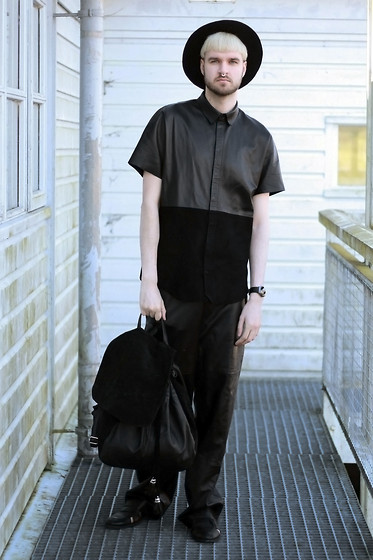 Geraint Donovan-Bowen - Topman Fedora, Gypsy East Jewels Septum Ring, Joseph Leather Shirt, Zara Leather Wide Leg, Rokit Backpack, Topman Cutout Shoes - His Name Is Juun