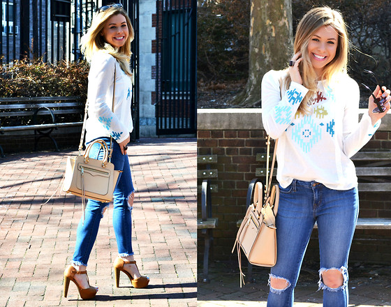 Katie Miller - For Elyse Aztec Embroidered Top, Vibrant Miu Destroyed Jeans, Rebecca Minkoff Nude Tote Bag - Peasantly Spring