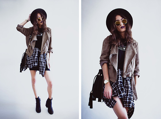 Sofia Reis - Zerouv Sunnies, Missguided Jacket, Missguided Dress, Missguided Boots - Killin it
