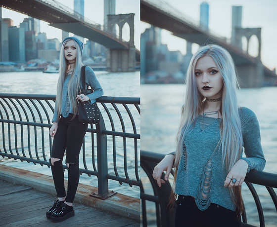 Anya Anti - Distorted Loose Knit Sweater, Studded Bag, Forever 21 Selfmade Knee Ripped Jeans, Studded Creepers - Brooklyn edge