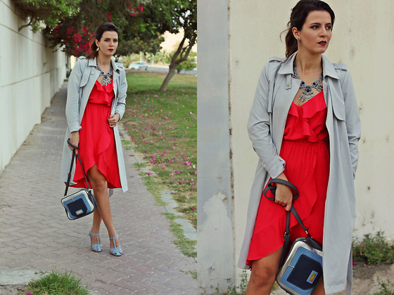 Susanna Vesna - Mohito Trench Coat, Splash Fashions Necklace, Bebe Red Strap Dress, Marla London Bag, Zara Pale Blue Heels - Contrasting Ideas