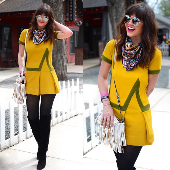 Lexicon of Style Alexandra Dieck - Vintage Dress, Boots, Lexicon Of Style Scarf, Rebecca Minkoff Purse - Mellow Yellow