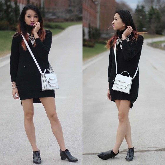 Jeannie Y - Style Moi Sweater Dress, Mackage Mini Crossbody, Topshop Booties - Sweater Talk