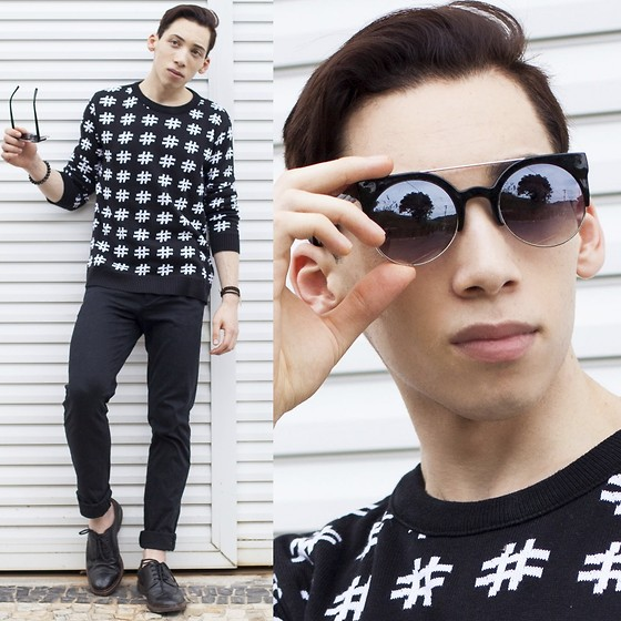 Douglas Brandão - Black Printed Jumper, Black Trousers, Richards Black Brogue Shoes, Philip Normal Sunglasses - Black and White!